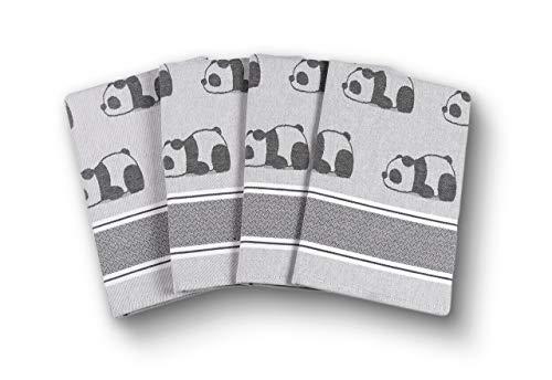 saewelo 4er-Set Geschirrtücher in Geschenkverpackung | 50 x 70 cm | 100% Baumwolle | Küchentücher | Trockentücher | Baumwolltücher (Panda, Grau)