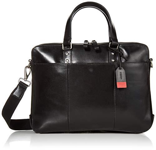 Fossil Men's Defender Leather Briefcase Messenger Bag, Black