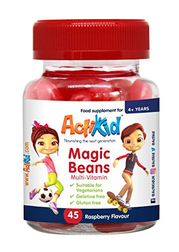 ActiKid Magic Beans Multi-Vitamin 45x Raspberry Flavour, Gelatin Free, Children's Vitamin, Immune System Booster
