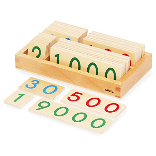 【MONTE Kids】モンテッソーリ教具 -- 数字カード 1-9000 小 -- Montessori 知育玩具教具 幼児早期教育 モ...