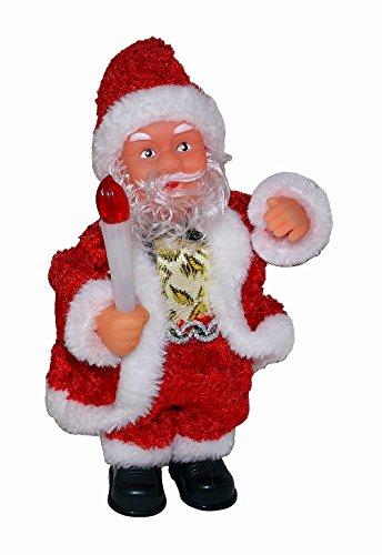 Kerstman Santa Claus met kerstkaars kerstdecoratie Kerstmis Deko beweegt zich, verlicht & maakt muziek