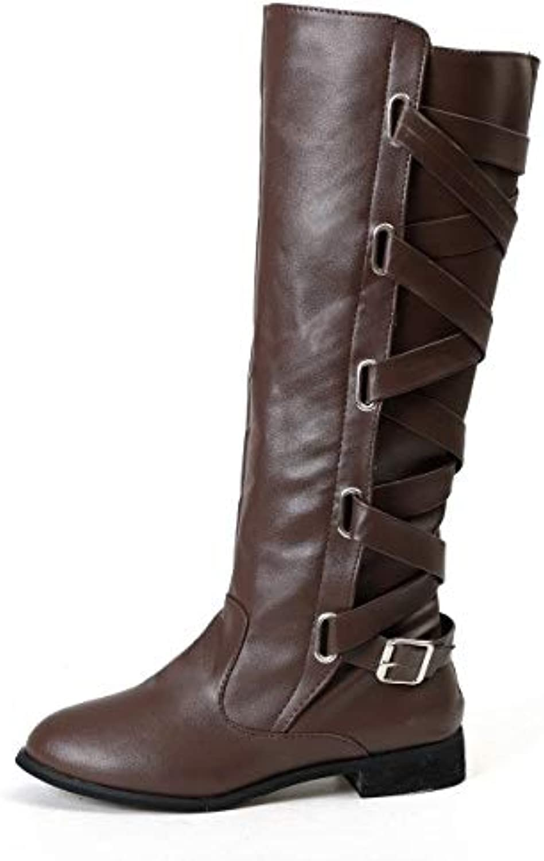 QDL1 KHTAA Plus Size Casual Mid Calf Boots Women Low Heels Platform Female Zipper Lace Up Buckle Autumn shoes Ladies 2018 Fashion Footwear