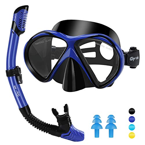 Glymnis Snorkel Set Snorkel Mask Anti-Fog and Anti Leak Diving Mask with Silicon Mouth for Snorkeling Swimming and Scuba Diving (Black)