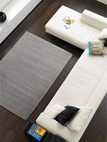 Benuta Wollteppich Uni Grau 120x170 cm | Naturfaserteppich für Wohnzimmer und Schlafzimmer