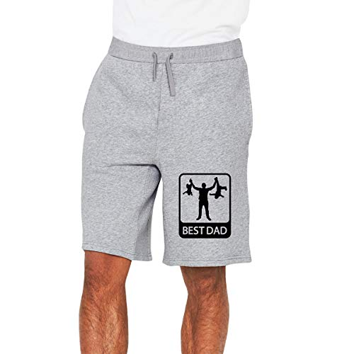 Nideming Best Dad - Funny Silhouette Sports Fashion Shorts for Boy Gray XXL