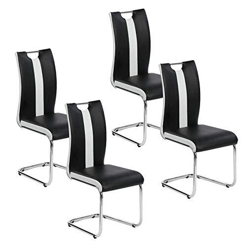 IDMarket - Lot de 4 chaises PIA Noires et Blanches pour Salle à Manger