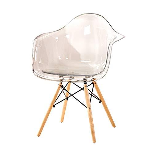Chaise décontractée minimaliste créateur créatif fauteuil transparent chaise en plastique chaise de réception Salle à manger Chaises (Color : Blanc, Size : 47 * 47 * 80cm)