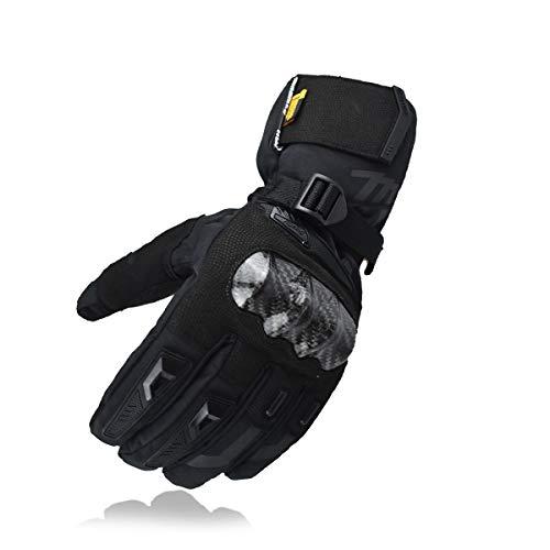 MADBIKE RACING EQUIPMENT Guantes de Moto de Invierno Guantes de Moto de protección de Fibra de Carbono con Pantalla táctil Guantes Deportivos (Negro, L)