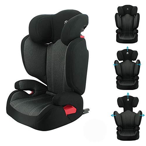 Silla infantil para el coche isofix Safety Baby - Asiento booster con respaldo FLASH IFIX grupo 2/3 (15-36kg) - Cabecera y respaldo ajustables - Protección lateral