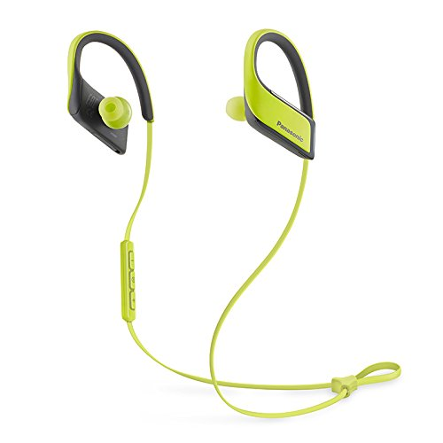 Panasonic WINGS Wireless Bluetooth In Ear Earbuds Sport Headphones with Mic + Controller RP-BTS30-Y (Urban Yellow), IPX4 Water Resistant