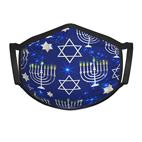 Happy Hanukkah Shining Background with Menorah Face Mask for Kids and Toddlers Made of Washable Reusable 100% Cotton Fabric,Adjustable Ear Straps Metallic