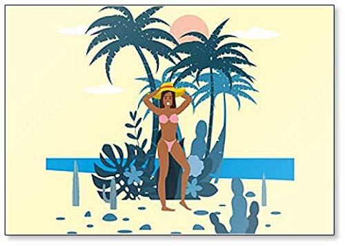Mooie Jonge Vrouw Karakter in Bikini en Hoed op achtergrond van Exotische Planten Koelkast Magneet