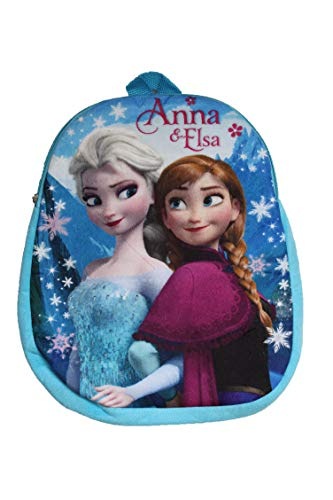 Mini zaino per la scuola e tempo libero da bambina personaggi Frozen azzurro 31 cm licenza Disney.