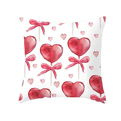 Agoble Fundas De Cojin 50 X 50, Cogines Decorativo Poliéster 1 50X50Cmfunda Cojin Rojo Blanco Corazón