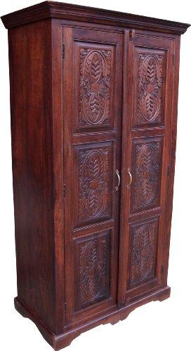 Guru-Shop Kleiderschrank im Kolonialstil & Kleiderstange - Modell 1, Braun, 185x100x52 cm, Schränke & Kleiderschränke