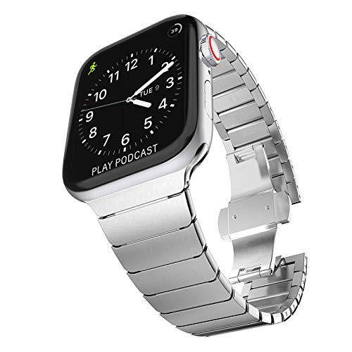 Fullife Stainless Steel Link Bracelet Compatible with Apple Watch Strap 44mm Series 4 Series 5 Series 6 with Butterfly Folding Clasp Compatible with Apple Watch Straps 42mm iWatch SE, Silver