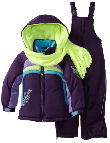 Rothschild Little Girls' Colorblock Snowsuit, Eggplant, Medium