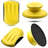 4 Pieces 5 Inch Hook and Loop Hand Sanding Blocks Round and Mouse-shaped Soft Sanders Sanding Blocks Polishers for 5 Inch Hook and Loop Sanding Discs Woodworking Furniture Restoration Home Crafts