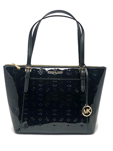 MICHAEL Michael Kors Ciara Large East West Top Zip Tote Black Patten Leather