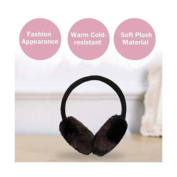 Simplicity Women's Winter Knitted Faux Fur Plush Earmuffs w/Lined Trim