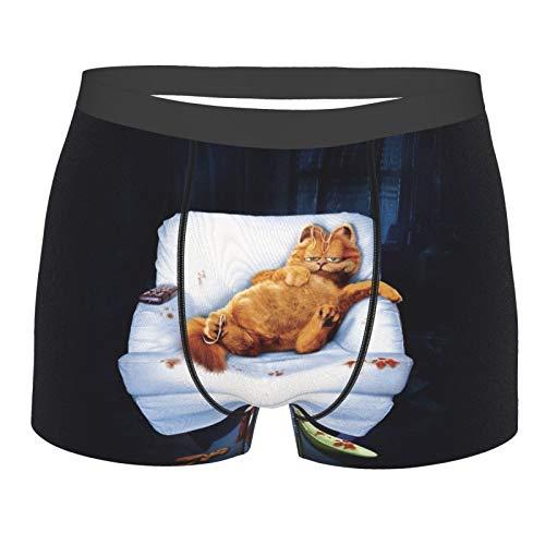 Garfield Herren-Boxershorts, atmungsaktiv, bedruckt, weicher Stretch-Stoff und elastischer Gürtel Gr. L, Schwarz