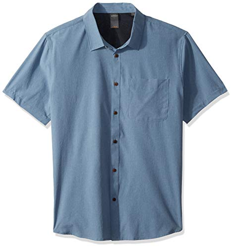 Quiksilver Waterman Men's Tech Tides Button Down Shirt, Blue Shadow Marl, M
