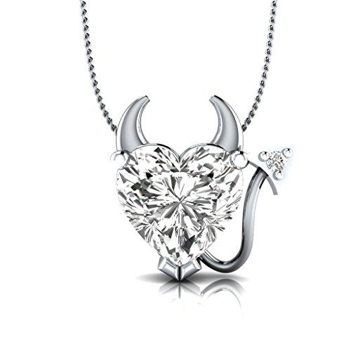 Silvernshine Jewels Sterling Silber SIM. Diamant Herz Teufel Anhänger 45,7cm Halskette w/Diamant Accent