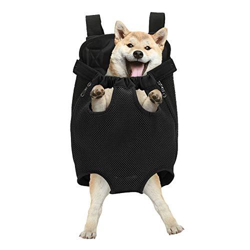 Haustierrucksack bis 10kg für Hunde Katzen Verstellbare Feste Schultertaschen Vorne und Hinten Leicht mit Löchern in Kopf Beinen Schwanz Geeignet für Reisen Camping Wandern Motorräder Fahrräder