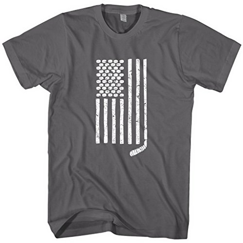 Mixtbrand Men's Hockey Stick and Pucks American Flag T-Shirt L Charcoal