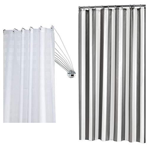 Sealskin Kombiset: Duschvorhangschiene Umbrella und Duschvorhang Linje 180x200 cm, Weiß / Grau