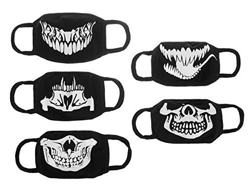 Mund- und Nasenmaske mit Totenkopf Motiv | Stoff | Wiederverwendbar | 5 Stk. | Lumineszierend | Schwarz