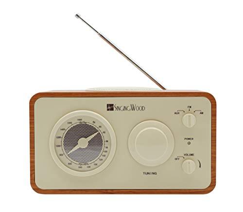 SINGING WOOD Retro Vintage Wooden AM/FM Radio (Cherry Wood)