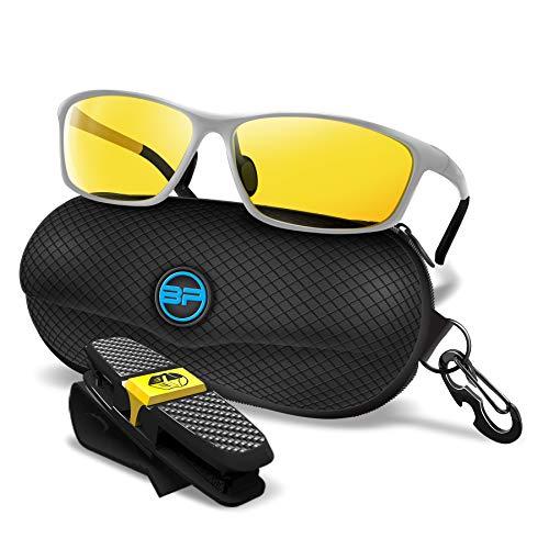 BLUPOND Night Driving Glasses for Men/Women - Semi Polarized Yellow Tint Anti...