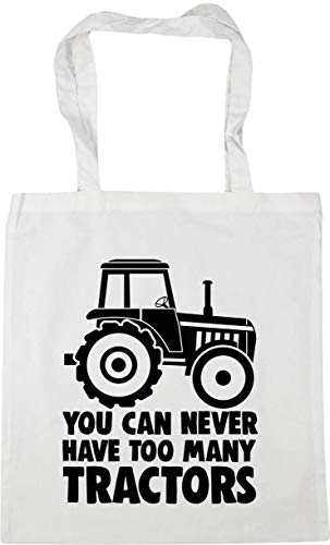 Hippowarehouse You Can Never Have Too Many Tractors Tote Shopping Gym Beach Bag 42cm x38cm, 10 litres