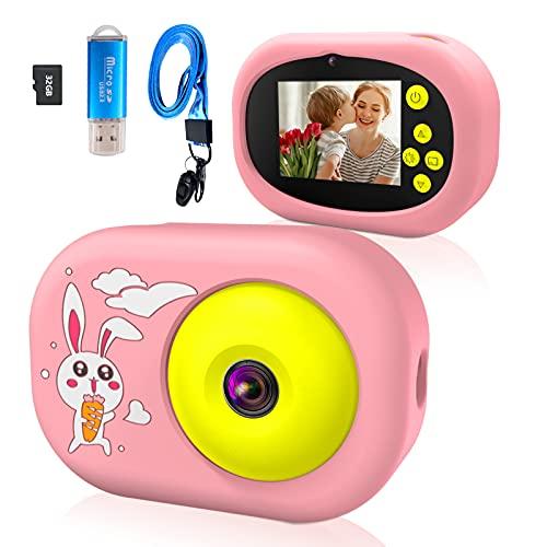Ushining Cámara para Niños, 1080P Cámara Digital para Niños con Pantalla IPS de 2,4 Pulgadas, Cámara Infantil con Tarjeta Micro SD de 32 GB, Regalos Juguete para 3 a 12 Años Niños y Niñas - Rosa