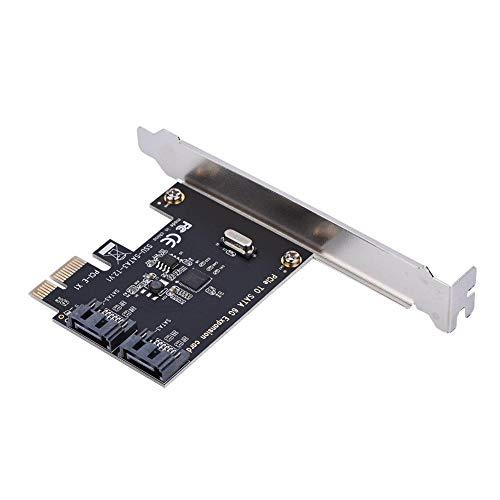 PCI Express SATA 3.0-Controllerkarte, 2-Port-PCIe zu SATA III 6 GB/s, SATA III 6-Gbit/s-Erweiterungsadapterkarten mit Kleiner Halterung und 1 CD