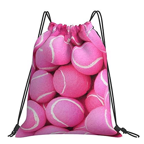 FJJLOVE Mochila con cordón de Pelotas de Tenis Rosa Brillante para Mujer,...