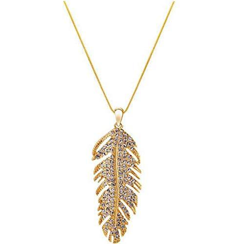 zhibeisai Long Retro Feather Pendant Necklace Womens Elegant Accessories Gold Feather pendant necklace Silver Color 1
