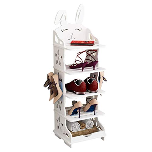 XBCDX Zapatero Independiente Zapatero Zapatero económico Multicapa Simple Gabinete para Zapatos Infantil Creativo Ahorre Espacio Patrón Hueco de Animal Lindo (Blanco) Zapatero apilable