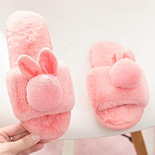 HUSHUI Slippers Calienta Y CóModo Ideal,Pantuflas de Felpa cálidas, Interior de algodón Transpirable-Rosa 1_40-41,Suave AlgodóN Zapatilla Pareja Zapatos