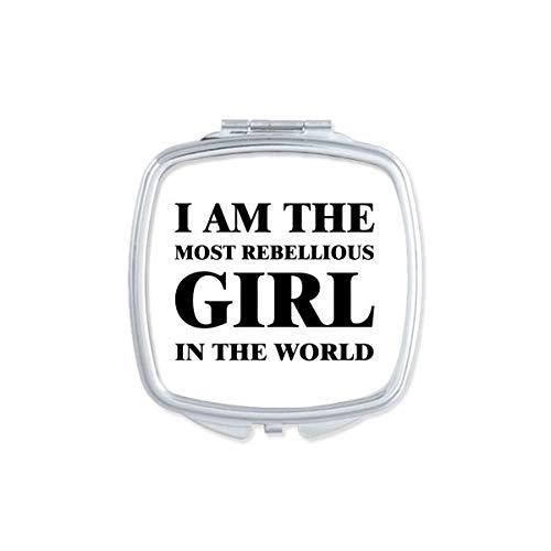 DIYthinker Je suis Le Maquillage Compact Fille Rebelle Miroir carré Portable Mignon de Cadeau Miroirs de Poche à la Main Multicolor