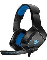 Auriculares Gaming PS4 PS5, Cascos Gaming con Micrófono, 3D Sonido y Reducción de Ruido, Jack 3,5mm, Cascos Gaming Control Volumen, Diadema Acolchada y Ajustable, Micrófono Flexible