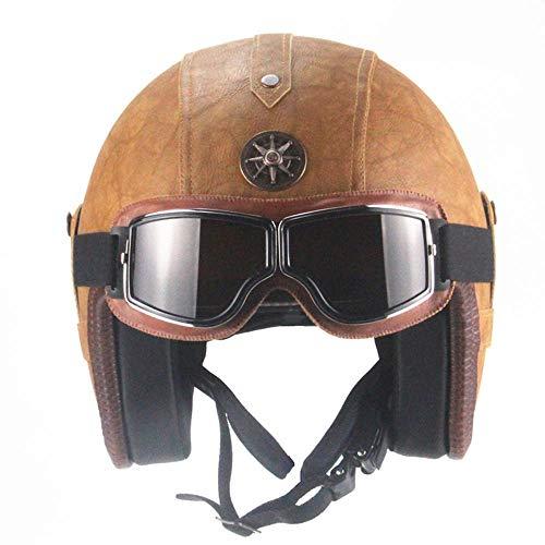 Jethelm Motorradhelm, Vintage PU Leder Pilot Jet Helme mit Brille Schnellverschluss Gurt Fit für Cruiser Moped Scooter DOT Zertifiziert Brown L