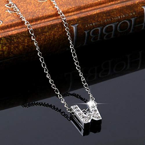 XCWXM - Collar de mujer con colgante de letra de cristal con par de enamorados, collar de cadena creativa con colgante de plata para mujer L