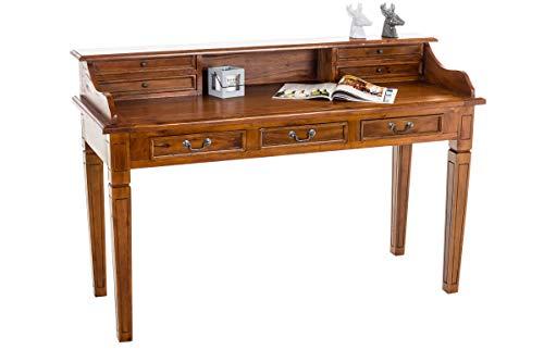 CLP Schreibtisch Konstantin aus Mahagoniholz I Hochwertiger Sekretär im Kolonialstil I erhältlich, Farbe:Rustic