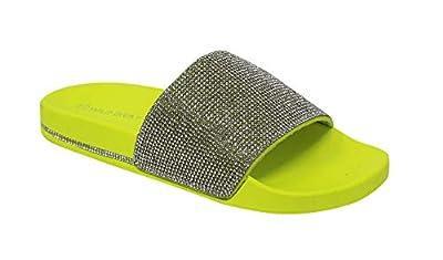 Wild Diva Women's Slides Rhinestone Glitter Sandals, Neon Yellow, 10 B(M)