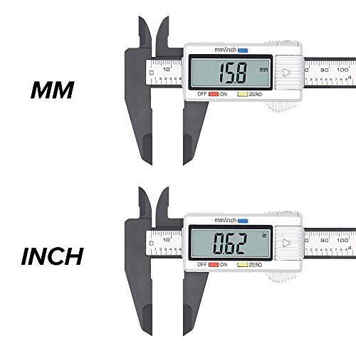 Electronic Digital Caliper, Plastic Vernier Caliper, Caliper Measuring Tool with Inch/Millimeter Conversion, Extra Large LCD Screen, 0-6 Inch/0-150 mm, Auto Off Featured Micrometer Ruler (Silver)