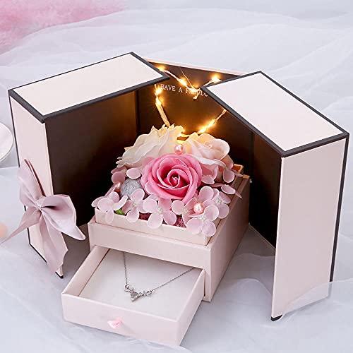 Ksnrang Geschenk Rose Seife Blume Geschenkbox Ohrringe Leuchtende Ewige Blume Mund Rote Halskette Mutter Tag Nelke Box-Rose Seifenblume Geschenkbox