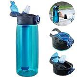 Bottiglia d'acqua,Bottiglia Filtrante Bottiglia con Filtro per l'acqua 2 Fasci Integrati p...