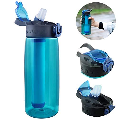 Botella de Agua con Filtro,de Viaje Filtro Integrado Portátil Botella de Agua Filtrada de de 2 etapas para Senderismo y Viajes sin BPA 2 Etapas Personal Paja (Verde)